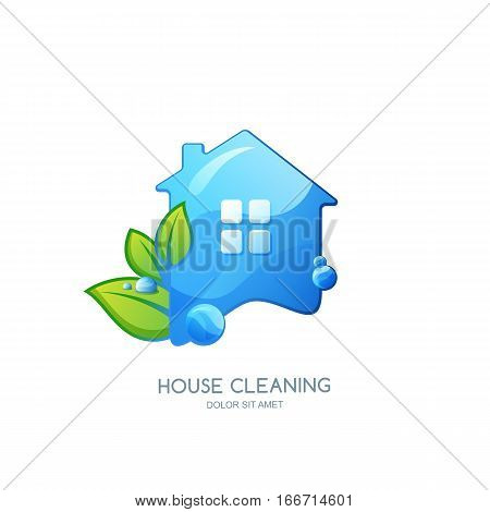 Cleaning Service Vector Logo, Emblem Or Icon Design Template. Clean House Isolated Illustration.