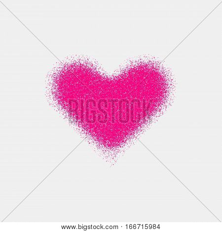 Magenta abstract heart sign badge, Valentines day blank button template with grain, noise, dotwork, halftone, grunge texture for logo, banners, labels, web, prints. 14th february. Vector illustration.