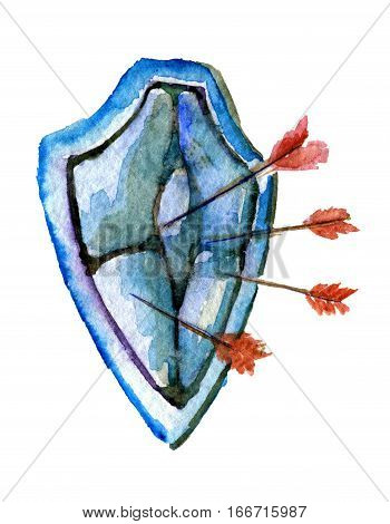 watercolor sketch of medieval brushed shield with arrows isolated on white background