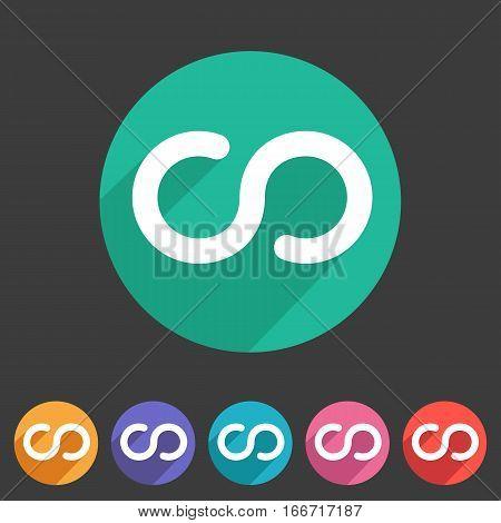 Infinity eternity icon flat web sign symbol logo label set