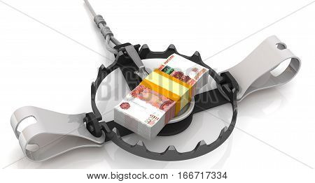 Money as a dangerous lure. Pack of 5000 Russian rubles tied with a ribbon as bait in trap on a white surface. Isolated. 3D Illustration