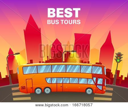 Colorful travel poster with double decker sightseeing bus on cityscape background vector illustration