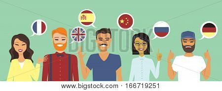 People speaking different languages education concept vector illustration