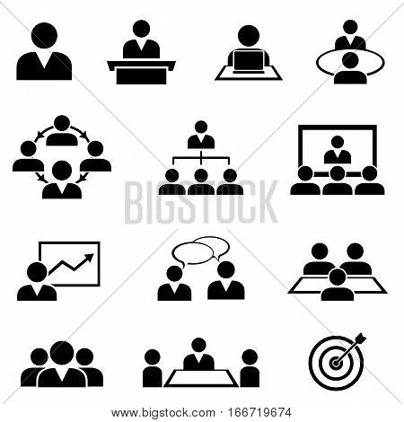 Businessman at meetings seminars conferences and training