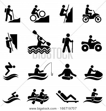 Leisure and outdoor recreational activities icon set
