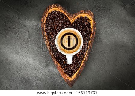 Coffee beans in a heart shaped bowl