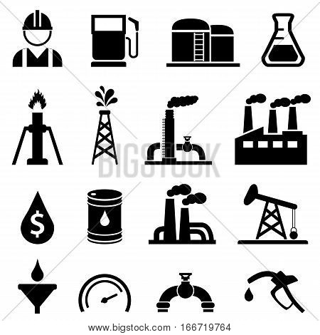 Oil and petroleum related icon set in black