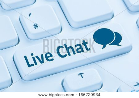 Live Chat Contact Communication Service Blue Computer Keyboard