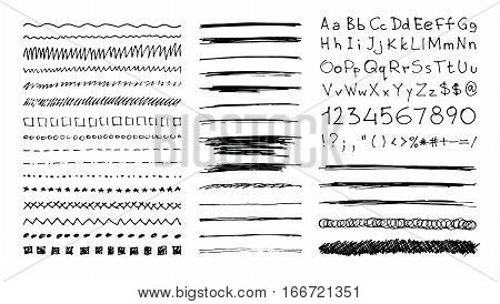 Set of hand drawn line borders, scribble strokes, hand written font and design elements isolated on white. Doodle style brushes. Monochrome vector eps8 illustration.