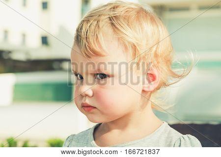 Caucasian Blond Baby Girl, Retro Style