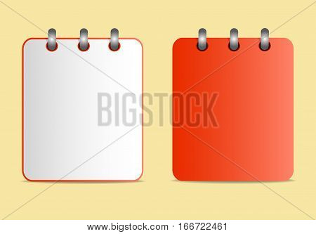 Icon of notebook red color in two variants. Tear-off notepad on the rings. Template can be used for any design, on web sites. Vector icon in flat style on the yellow background.