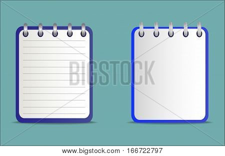 Icon of notebook blue color in two variants. Tear-off notepad on the rings with lines and without them.  Vector icon in flat style on the green background.