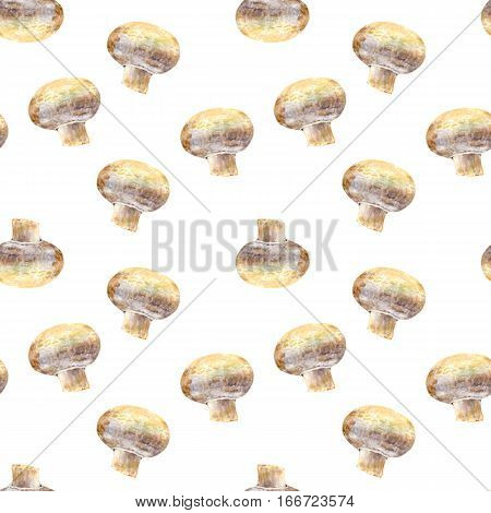 Mushroom champignon on white background. Watercolor hand made. Seamless colorful pattern. Could be used for textile or in design