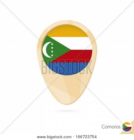 Map Pointer With Flag Of Comoros. Orange Abstract Map Icon.
