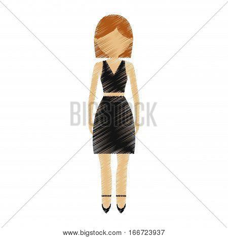 drawing avatar woman wearing black skirt shirt model vector illustration eps 10