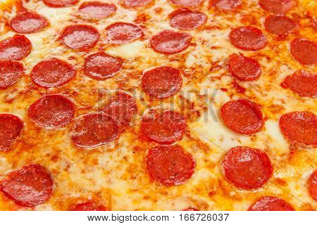 Background from delicious classic italian Pizza Pepperoni with sausages and cheese mozzarella