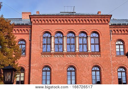 The historic red brick building in the city of Gniezno