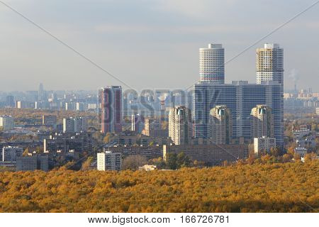 MOSCOW - OCT 20, 2015: Skyscrapers residential complex Tricolor in the autumn in Moscow