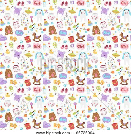 Baby icons seamless pattern vector cartoon family toys sign. Kid symbols design cute boy and girl toys childhood art. Diaper drawing graphic love rattle fun background.