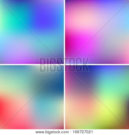 Abstract pink, teal, purple and green blur color gradient backgrounds for web, presentations and prints. Vector illustration.