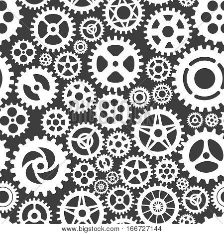 White gears on grey seamless patern design. Vector illustration