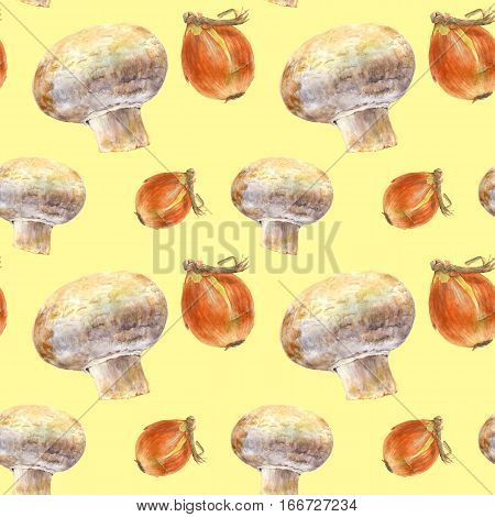Champignon and onion on yellow background. Watercolor hand made. Seamless colorful pattern. Could be used for textile or in design