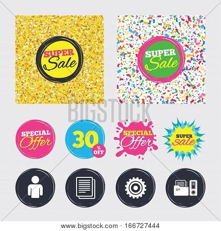 Gold glitter and confetti backgrounds. Covers, posters and flyers design. Accounting workflow icons. Human silhouette, cogwheel gear and documents folders signs symbols. Sale banners. Vector