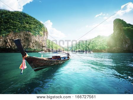 boat on the beautiful sea, Phi Phi island, Thailand