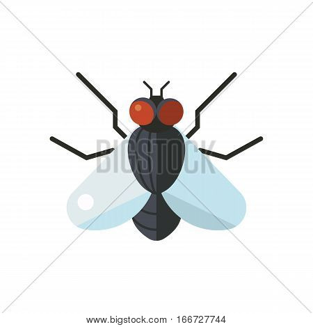Insect fly icon flat isolated on white background. Nature flying cockroach beetle vector ant. Wildlife spider grasshopper or mosquito dragonfly animal illustration.