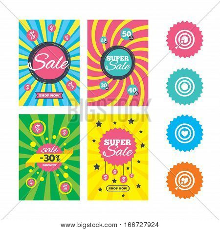 Web banners and sale posters. Target aim icons. Darts board with heart and arrow signs symbols. Special offer and discount tags. Vector