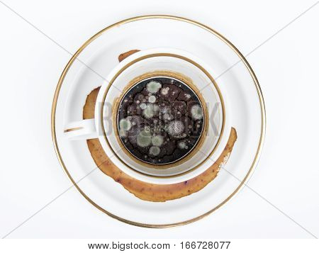 mold in the unwashed cup after cup of coffee on white background