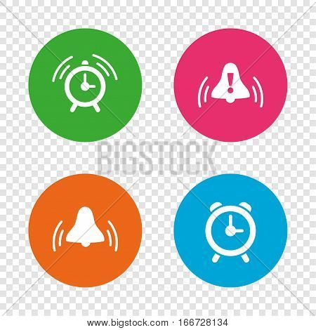 Alarm clock icons. Wake up bell signs symbols. Exclamation mark. Round buttons on transparent background. Vector