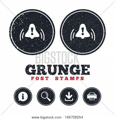 Grunge post stamps. Alarm bell with exclamation mark sign icon. Wake up alarm symbol. Information, download and printer signs. Aged texture web buttons. Vector