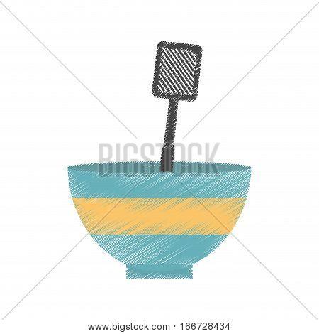 drawing bowl spatula grill utensil kitchen vector illustration eps 10