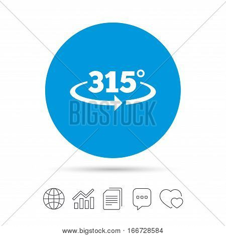 Angle 315 degrees sign icon. Geometry math symbol. Copy files, chat speech bubble and chart web icons. Vector