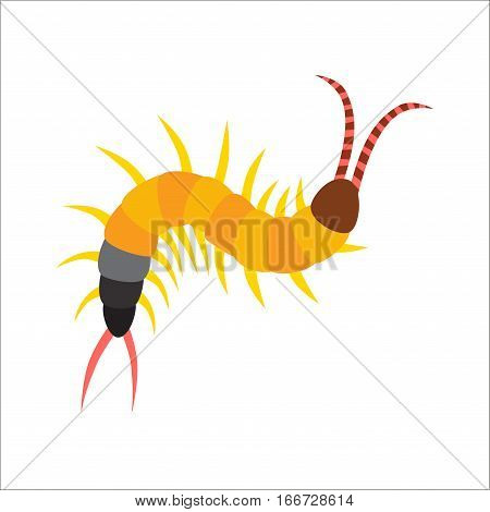 Cute Centipede animal cartoon character isolated on white background. Danger macro bug poisonous predator body. Vector earthworm illustration design crawl invertebrate.