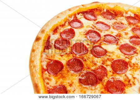 Part Of Delicious Classic Italian Pizza Pepperoni With Sausages And Cheese Mozzarella