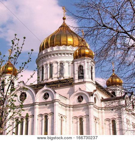 Cathedral of Christ the Saviour in spring in Moscow Russia April 30 2011