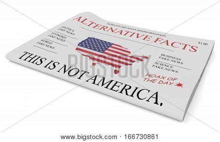 US Politics News Concept: Newspaper Alternative Facts 3d illustration on white background