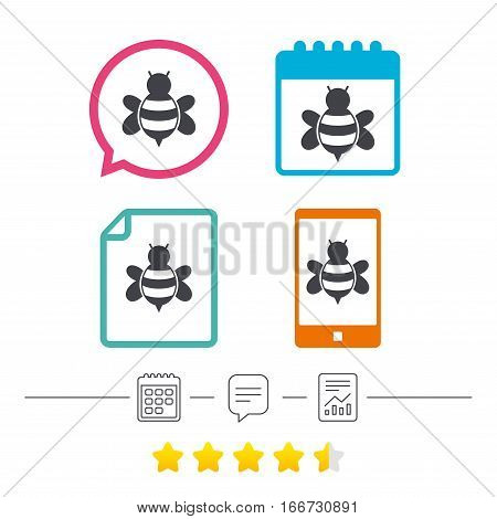 Bee sign icon. Honeybee or apis with wings symbol. Flying insect. Calendar, chat speech bubble and report linear icons. Star vote ranking. Vector