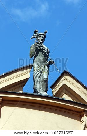 Statue of Mercury the Roman god of commerce located on the roof of the first Croatian Savings Bank Virovitica Croatia
