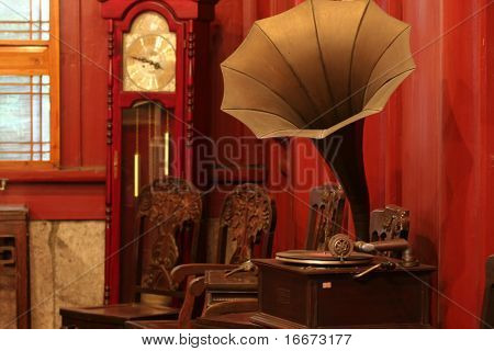 old phonograph and clock