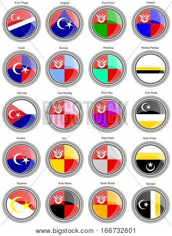 Set Of Icons. Flags Of The Malaysian Districts.