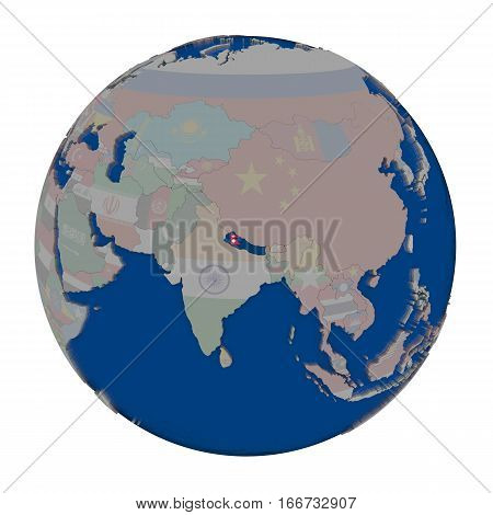 Nepal On Political Globe