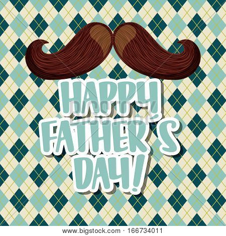 happy father's day card with mustache icon. colorful design. vector illustration