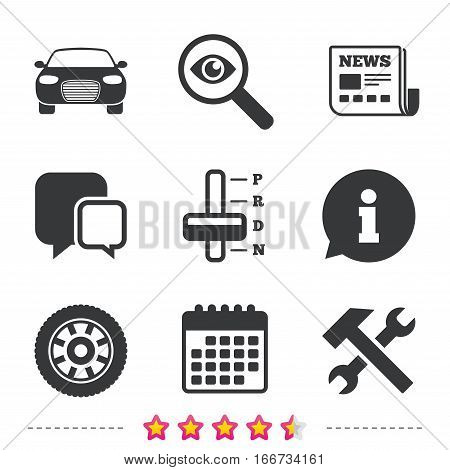 Transport icons. Car tachometer and automatic transmission symbols. Repair service tool with wheel sign. Newspaper, information and calendar icons. Investigate magnifier, chat symbol. Vector
