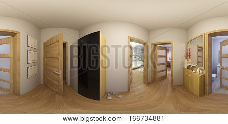 3d illustration spherical 360 degrees, seamless panorama of hall interior design. Modern studio apartment in the Scandinavian minimalist style