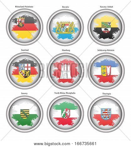 Set Of Icons. States Of Germany Flags. Vector.