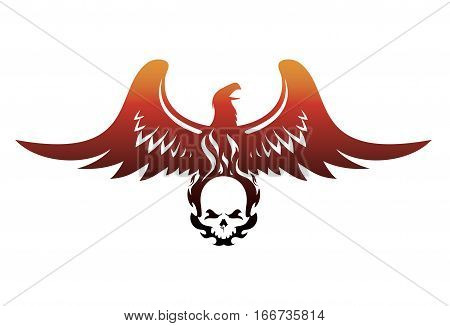 soaring Phoenix with a burning skull vector illustration