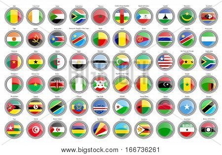 Set Of Icons. Flags Of The African Countries.